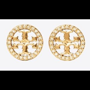 Tory Burch Miller Pave Gold Studs